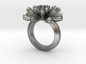 Sea Anemone Ring 18.5mm in Natural Silver
