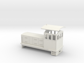 "HOn30 Endcab Locomotive (""Phoebe"") in White Natural Versatile Plastic"