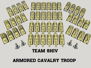 """""""Team Shiv"""" 3mm Wheeled Armor Task Force (52pcs) in Smooth Fine Detail Plastic"""