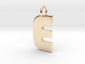 Small Gold Pendant Letter Initial E Disco in 14K Yellow Gold