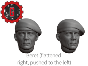28mm Heroic Scale Beret, flattened on the right in Smooth Fine Detail Plastic: Small