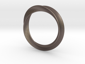 Heavy Bangle in Polished Bronzed Silver Steel