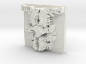 Fischer Crest 1 inch by 1 inch version in White Natural Versatile Plastic