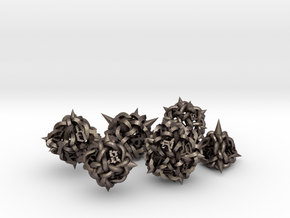 Knot polyhedral set in Polished Bronzed-Silver Steel