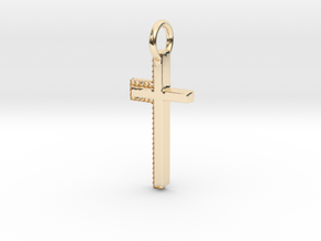 Gold Cross Pendant Geek Video Game Jewelry Pixl By in 14K Yellow Gold