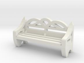 Park Bench 1/12 in White Natural Versatile Plastic