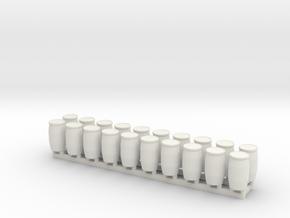 15mm Blue Barrels 20pc in White Natural Versatile Plastic