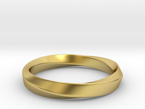 Mobius Ring - 270 _ Wide in Polished Brass: 8 / 56.75