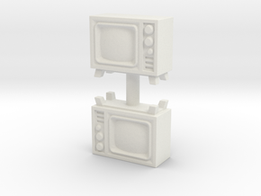 Old Television (x2) 1/72 in White Natural Versatile Plastic