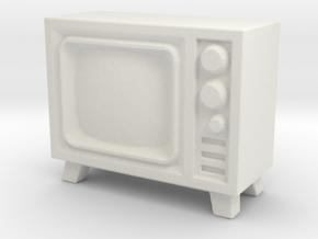 Old Television 1/43 in White Natural Versatile Plastic
