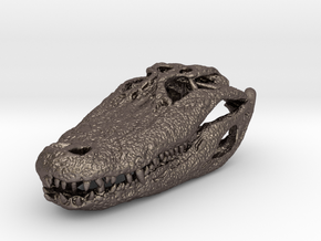 alligator skull 65mm in Polished Bronzed-Silver Steel