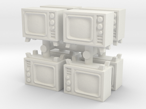 Old Television (x8) 1/144 in White Natural Versatile Plastic