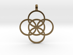FIVE FOLD Symbol Jewelry Pendant in Natural Bronze