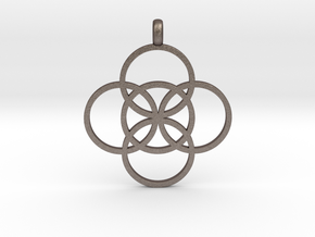 FIVE FOLD Symbol Jewelry Pendant in Polished Bronzed Silver Steel