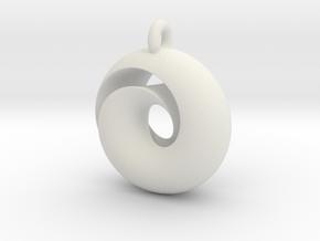 Split Torus pendant  in White Natural Versatile Plastic