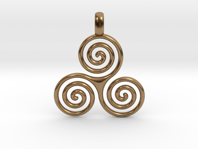 TRIPLE SPIRAL Minimal Symbol Jewelry Pendant  in Natural Brass
