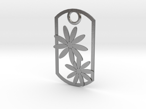 Daisy dog tag in Natural Silver