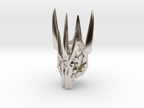 Sauron helmet  in Rhodium Plated Brass
