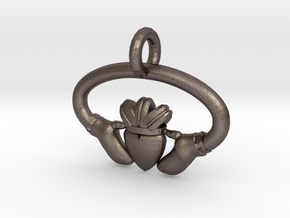 Claddaugh Pendant in Polished Bronzed Silver Steel