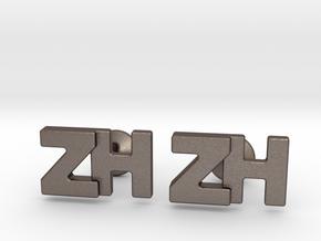 Monogram Cufflinks ZH in Polished Bronzed-Silver Steel