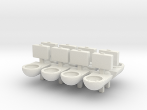 Prison Toilet (x8) 1/100 in White Natural Versatile Plastic