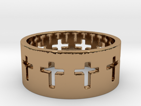 Cross ring V9 Ring Size 7 in Polished Brass