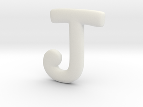 Cosplay Charm - Letter J Necklace Charm (no loop) in White Natural Versatile Plastic