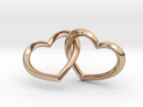 Connected Hearts Pendant in 14k Rose Gold Plated Brass: Small