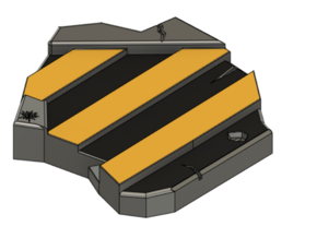 Black and Yellow Plate For Models Bases in Smooth Fine Detail Plastic