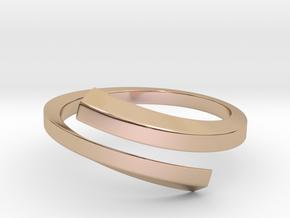Streamline Rhombic Open Ring in 14k Rose Gold Plated Brass: 8 / 56.75