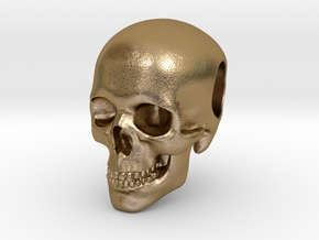 Human Skull Pendant in Polished Gold Steel