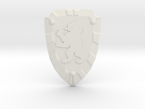 Bear Knight Shield in White Natural Versatile Plastic