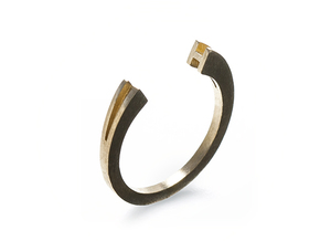 H Ring (slim) in Natural Brass: 7 / 54