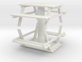 Park Picnic Bench (x2) 1/72 in White Natural Versatile Plastic