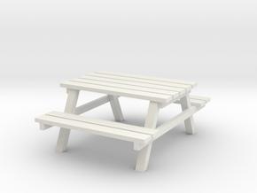 Park Picnic Bench 1/48 in White Natural Versatile Plastic
