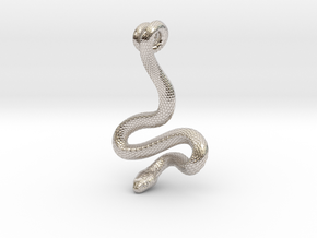 Snake Pendant_P02 in Fine Detail Polished Silver