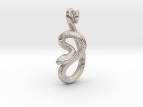 Snake Pendant_P05 in Rhodium Plated Brass