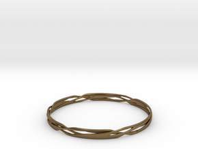 Stripes Bangle in Natural Bronze