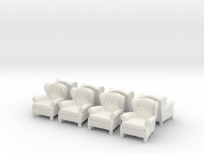 ArmChair 03.1:87 Scale (HO) in White Natural Versatile Plastic