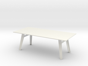 Modern Miniature 1:12 Table in White Natural Versatile Plastic: 1:12