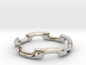 Contrary Combine Ring in Rhodium Plated Brass: 8 / 56.75
