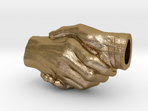 Handshake pendant (C: 3cm) in Polished Gold Steel