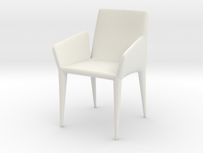 Modern Miniature 1:24 Chair in White Natural Versatile Plastic: 1:24