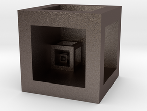 """Cube """"Scale"""" in Polished Bronzed-Silver Steel"""