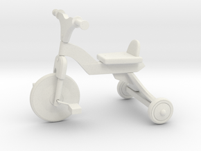 Miniature 1:12 Dollhouse Bicycle in White Natural Versatile Plastic: 1:12