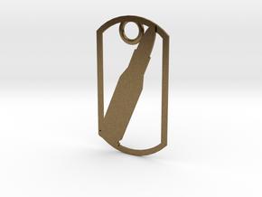 Rifle cartridge (223 Remington) cartridge dog tag in Natural Bronze