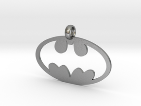 Batman necklace charm in Natural Silver