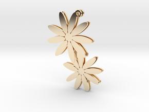 Daisy earrings - 1 pair in 14K Yellow Gold