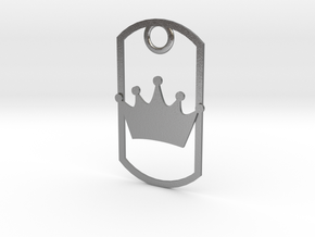 Crown dog tag in Natural Silver