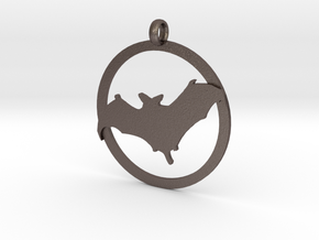 Bat awareness charm in Polished Bronzed Silver Steel